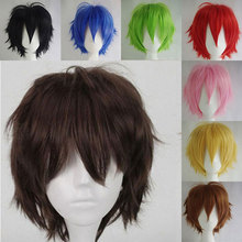 SNOILITE wig cosplay curta Halloween Short Synthetic Hair Straight brown wig cosplay short red blue orange wig for party