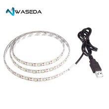 цена на Waseda 2m Resin Flexible USB LED Lights Strip Ribbon 3528smd 120leds 5V Waterproof Cool White Flat screen LED strips for HDTV