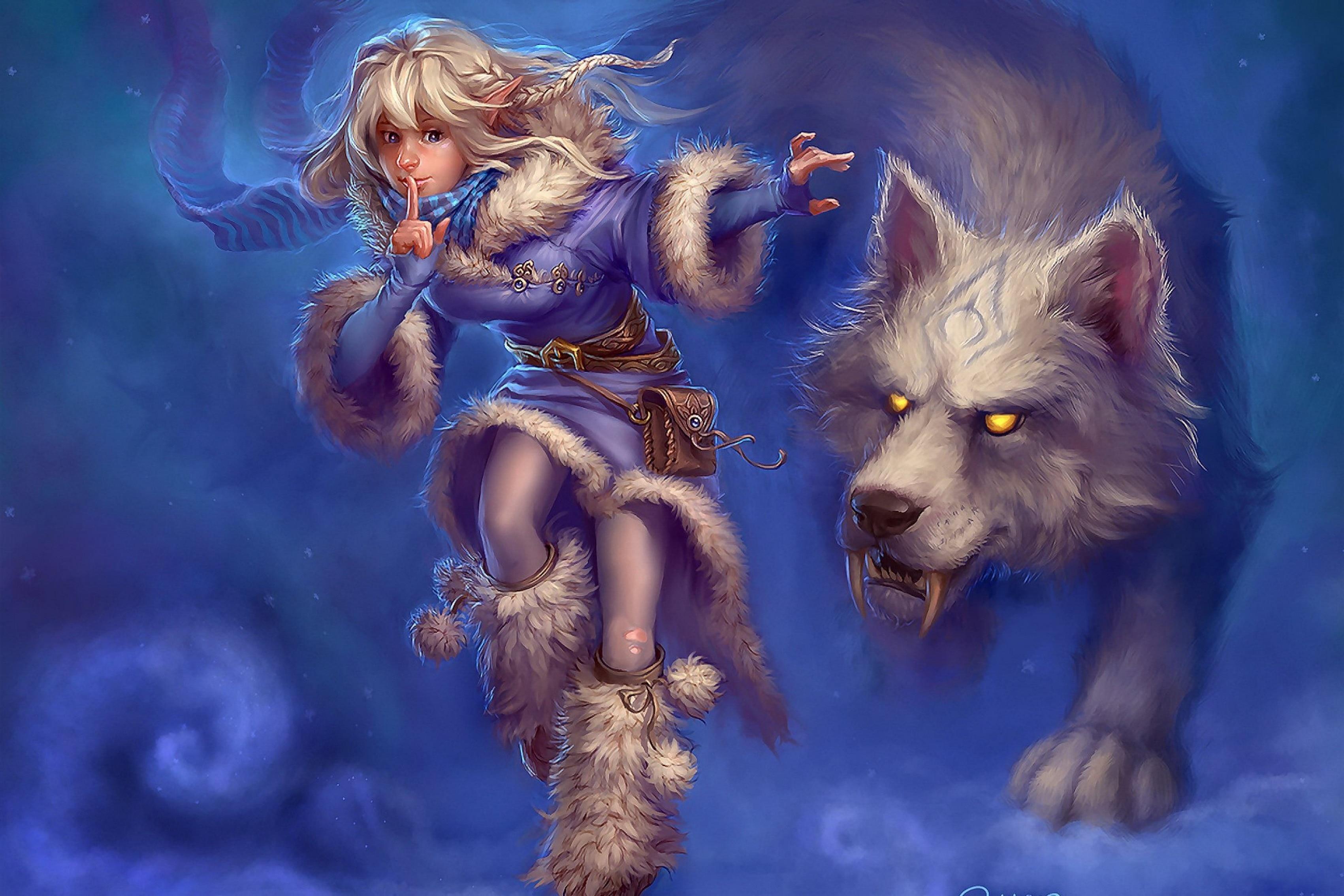 Home decoration fantasy art artwork girls women red riding hood wolf wolves Silk Fabric Poster Print DM421