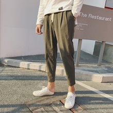 Japanese Casual Joggers Pencil Pants Homme 2018 Summer Vintage Style Succinct Ankle Length Thin Ventilate Cotton Linen Trouser