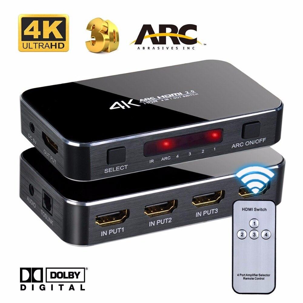 4 K HDMI Audio Extractor 3x1 4x1 5x1 1,4 conmutador HDMI 2,0 HDMI switch Box con arco Toslink SPDIF para PS3 PS4 Apple TV HDTV
