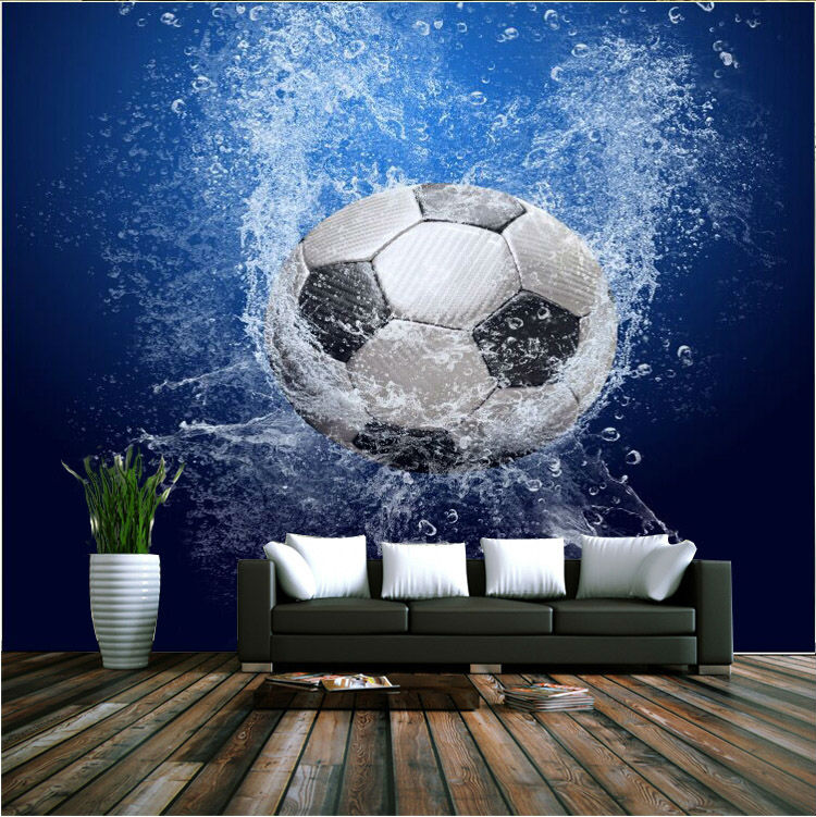 Modern 3D Wallpaper Football Photo Wallpaper Wall Mural Boys Kids Girls  Room Decor Club Bedroom Television ... Nice Look
