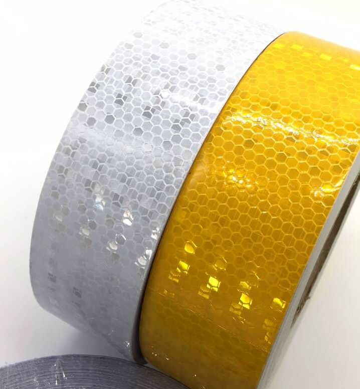 Купить с кэшбэком 5cm*45m Truck Annual Inspection Honeycomb Lattice PVC Reflective Warning Safety Self-adhesive Tape