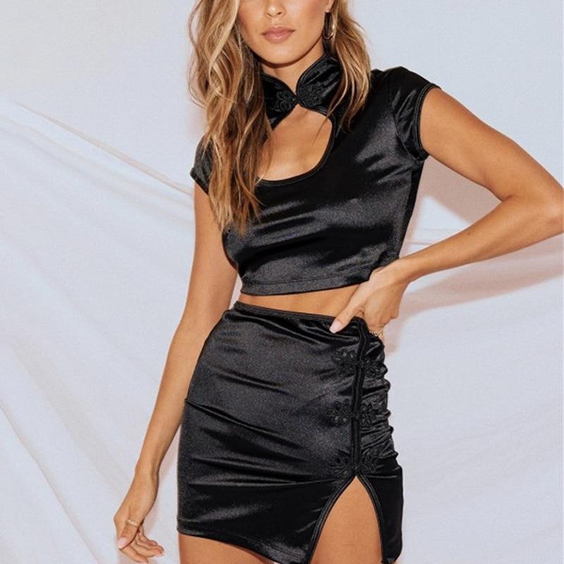 summer-women-short-skirt-crop-top-2-piece-set-bodycon-slim-black-two-piece-sets-hollow-out-chinese-neck-vintage-black-female-set