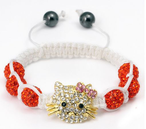 Free shipping!Hotsale Best Micro Pave Deep OWJ Red Beads pink Bangles Bracelet jewelry crystal shamballa