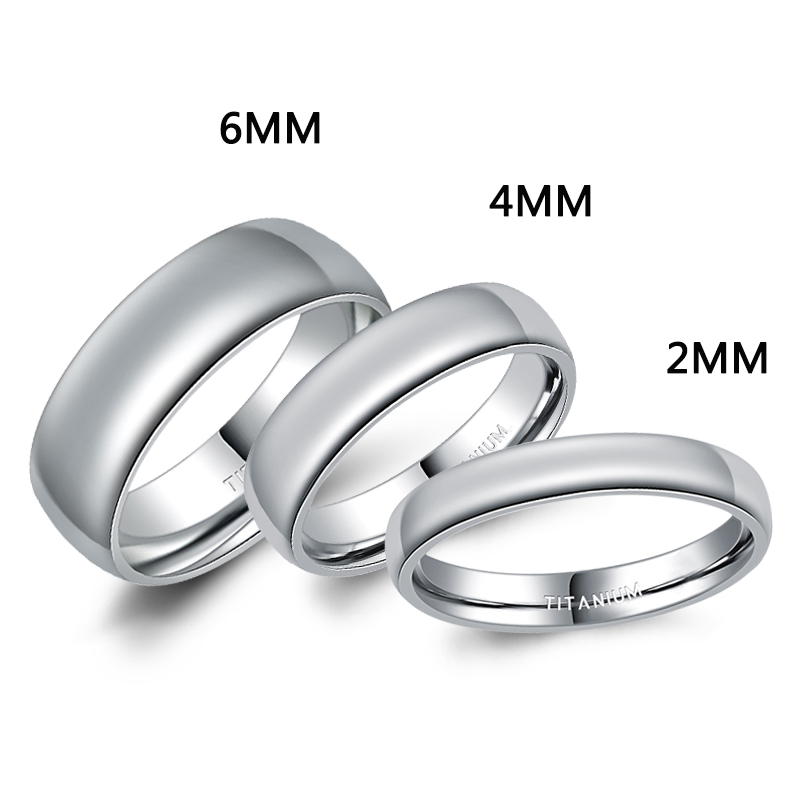 2mm / 4mm / 6mm Poleret Sølv Titanium Ring Kvinder Smooth Wedding Band Minimalisme Simple Stacking Ringe Kvinde Mode Smykker