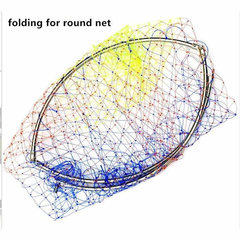 Diámetro del cable fuerte 60cm Red de aterrizaje de la cabeza nailon coloreado red de pesca anillo de acero inoxidable red de pesca