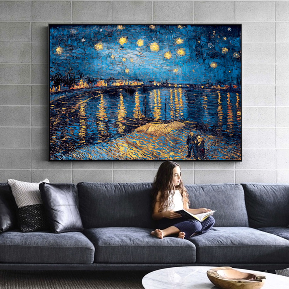 Van Gogh Starry Night Canvas Paintings Replica On The Wall Impressionist Starry Night Canvas Pictures For Living Room Cuadros image