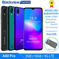 "Blackview A60 Pro 4G LTE 4080mAh Smartphone 6.088""Waterdrop Screen mobile phone Android 9.0 3GB RAM Dual Rear Camera cell phone"