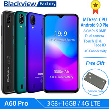 "Blackview A60 Pro 4G LTE 4080mAh Smartphone 6.088""Waterdrop Screen mobile phone Android 9.0 3GB RAM Dual Rear Camera cell phone(China)"