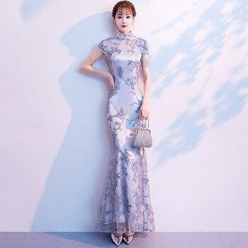 Gray Wedding Qipao Long Cheongsam Modern Chinese Traditional Dress Sexy Cheongsam Dress Robe Chinoise Vestido Oriental Prom