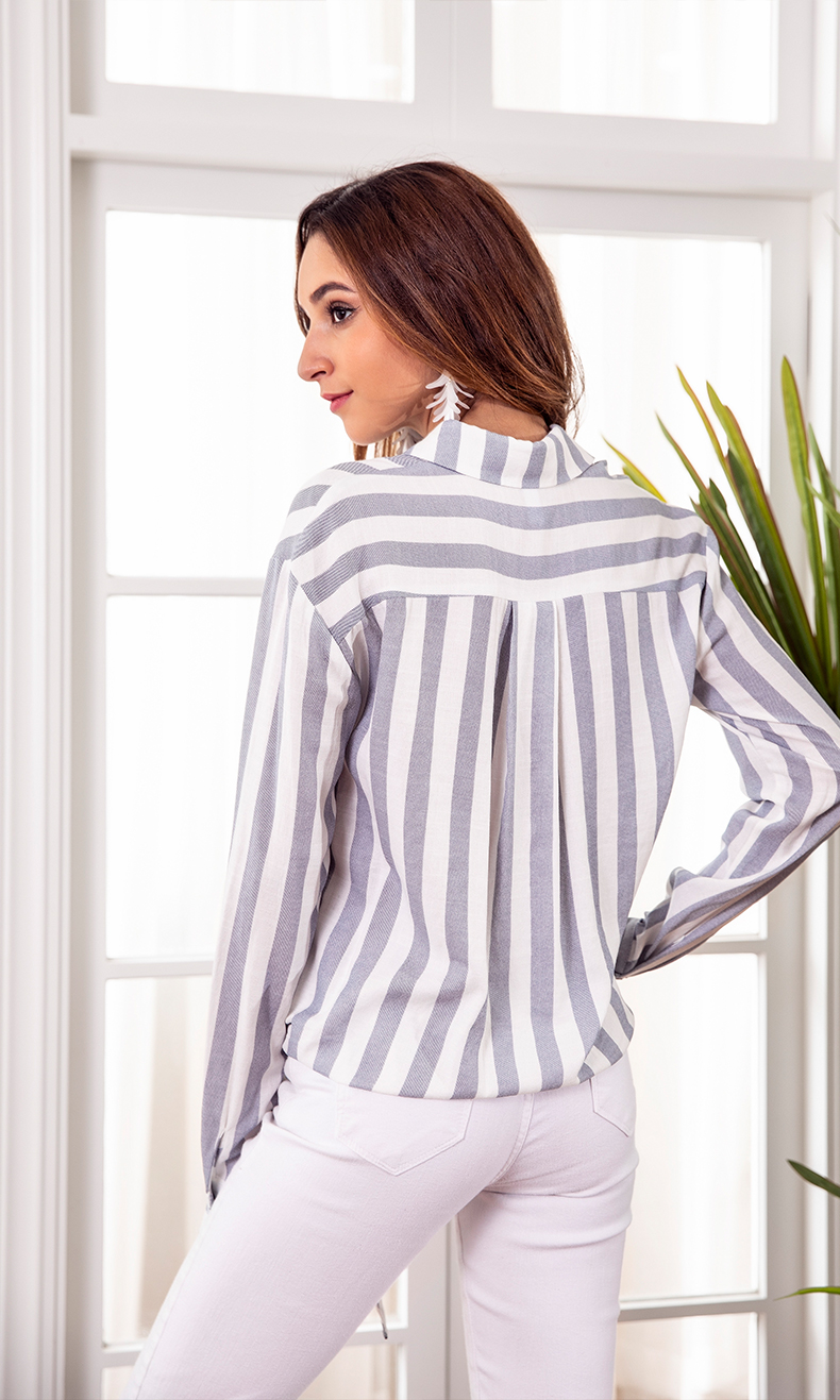 00fee07794773 US $17.54 35% OFF|2018 Autumn Spring Strip Blouse Office Lady Long Sleeve  Bow Tie Hem Casual Top Shirt Elegant-in Blouses & Shirts from Women's ...