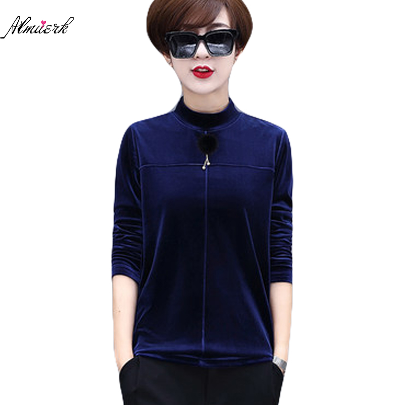 2018 new Wome Spring Autumn T-shirt Women large size half high collar Short fashion T-shirt Female Gold velvet T-shirt p055