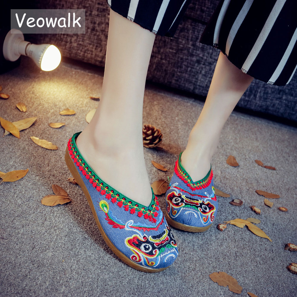 Veowalk New Summer Design Womens Old Peking Lion Head Embroider Casual Slippers Comfort Slides Cotton Basic Shoes For Women