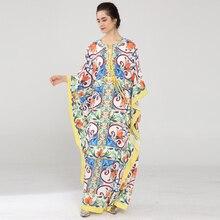 8bb09fee135333 Hoge kwaliteit Nieuwe 2018 vrouwen Batwing Mouw mode Losse lange jurk  nieuwe designer runway boog print Feestdagen Casual Maxi j.