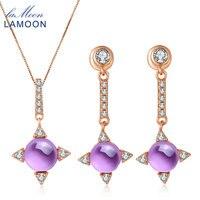 LAMOON S925 Set Fine Jewelry Cruz estrela 2.2ct Natrual Ametista esterlina-prata-jóias Colar Brinco Mulheres V009-2