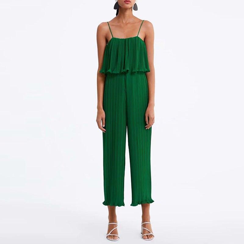 New Casual Women Summer Pleated   Jumpsuits   Spaghetti Strap Ruffle Slim Camis Rompers Chiffon Wide Leg Pants XZ1930