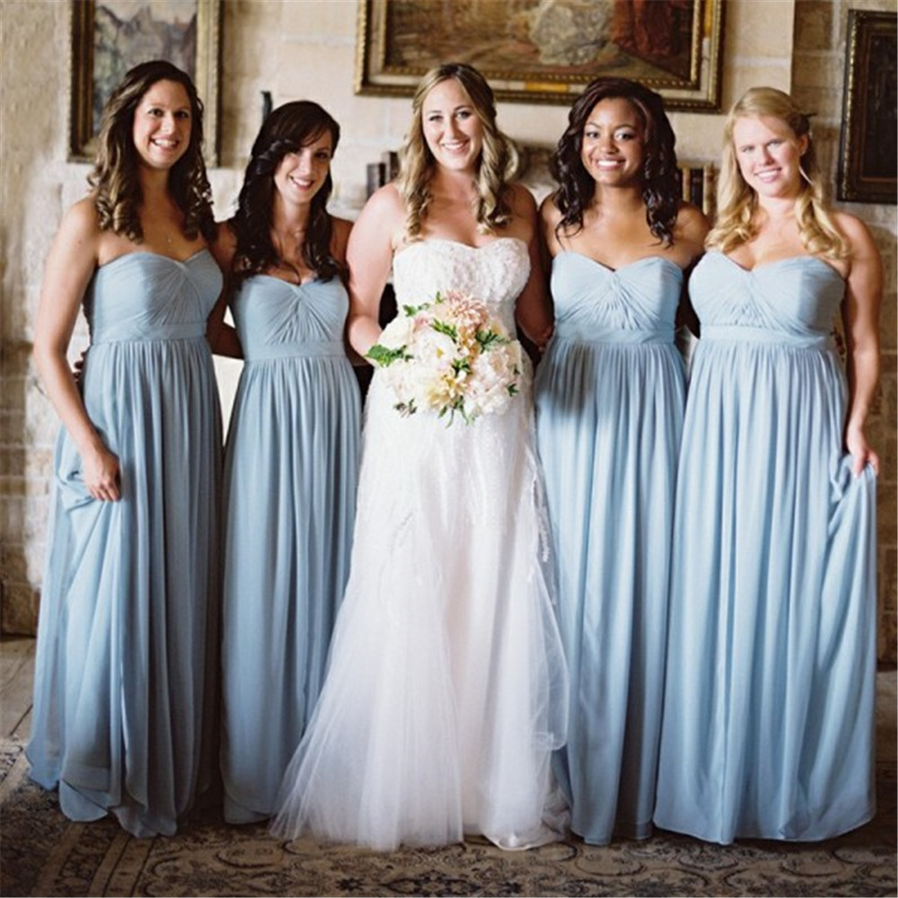 Mint Blue Pleat Chiffon Bridesmaid Dresses Strapless A Line Sleeveless Long Elegant Wedding Party Dress 2019 Cheap Women Gowns