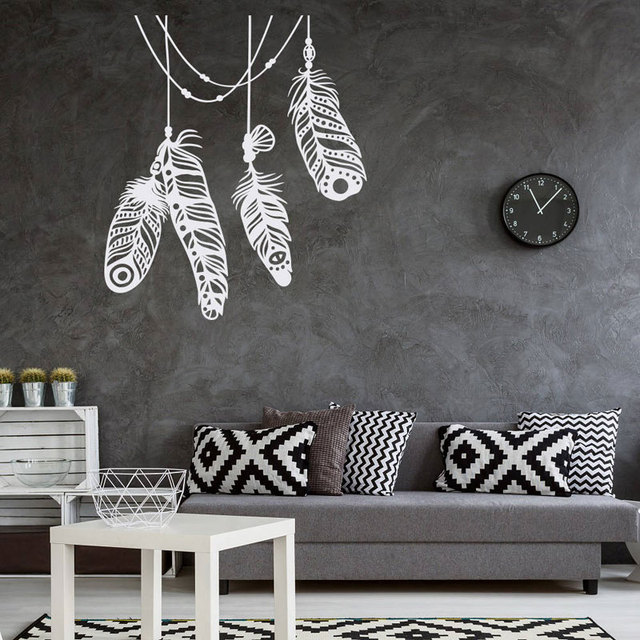 feather vinyl wall decals boho wall decor for home bohemian wall