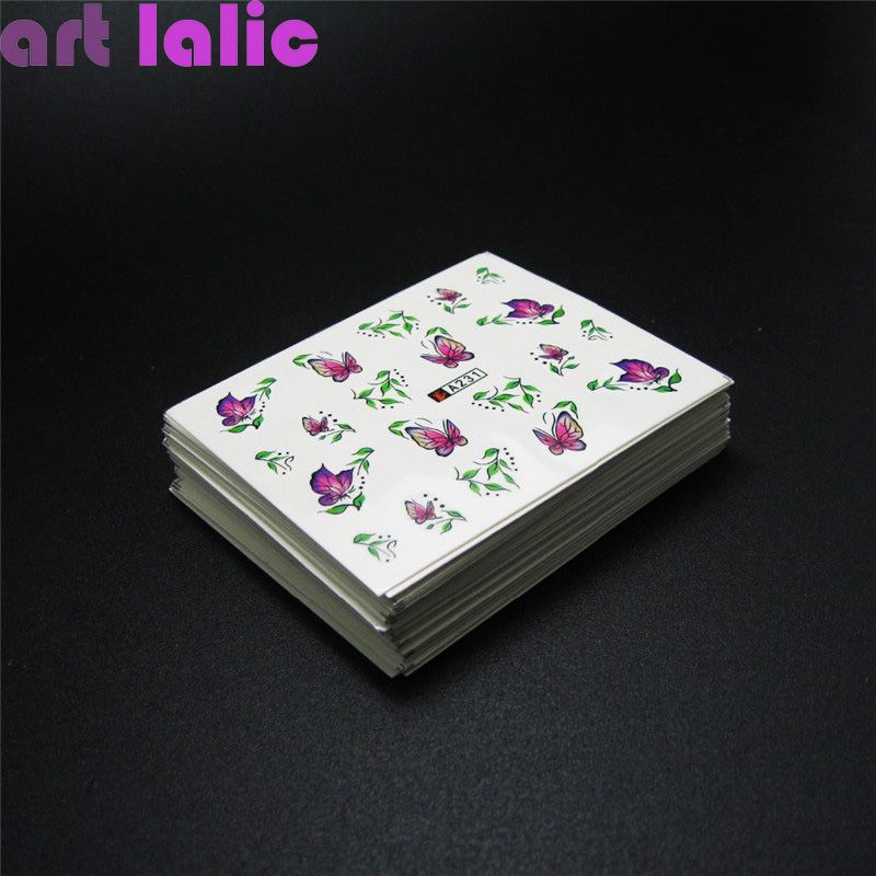 50 Sheets Mixed Designs Water Transfer Nail Art Sticker Watermark Decals DIY Decoration For Beauty Nail Tools Random Patterns