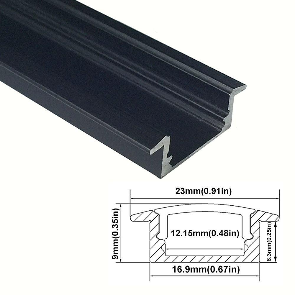 UnvarySam Black LED Aluminum Channel U profile Flush Mount with Clear Transparent Cover for LED Strip