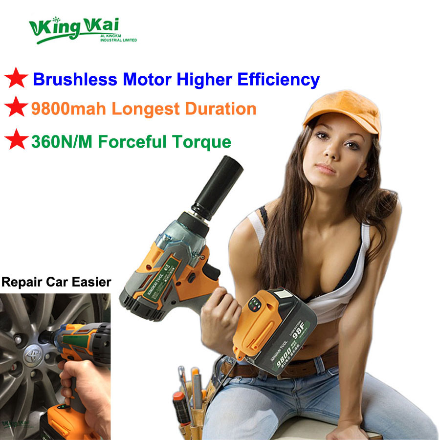 360N/M 16800mah 1/2 Brushless Torque Cordless Hilti Electric Kress Bort Power Tools Lithium Battery Car Impact Electric Wrench