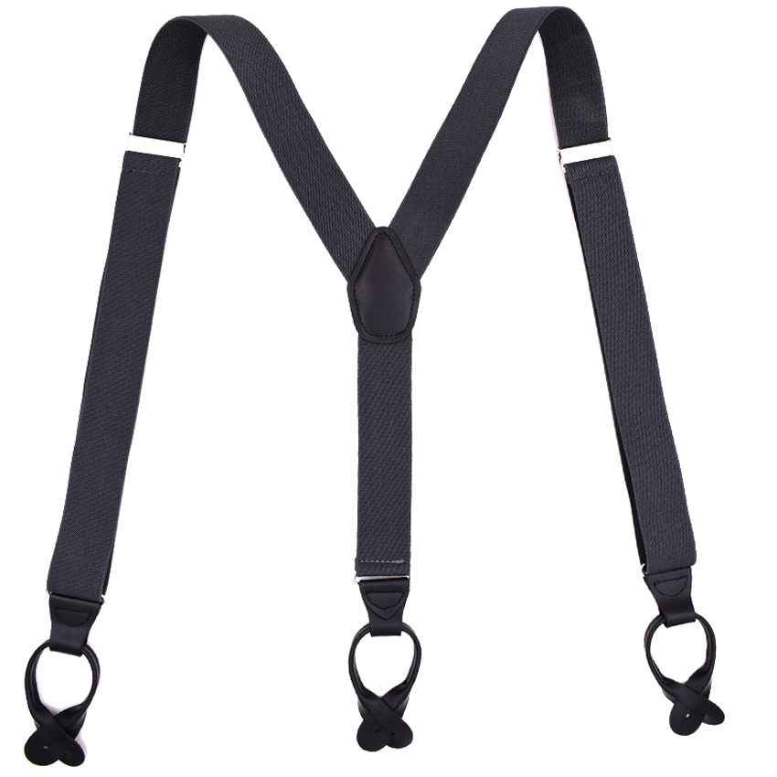 Buttons Suspenders Unisex PU Leather Braces Man's Suspenders New Y-Back Ligas Tirantes 3.5*120cm 6 Colors 10pcs/lot