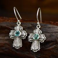 925 Sterling Silver Earrings For Women Natural Gemstone Emerald Gothic Cross Earrings For Women Wholesale Fine Jewelry