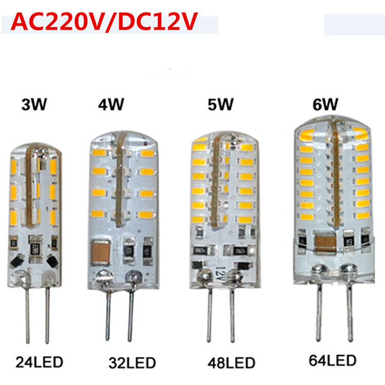 3W 4W 5W 6W 9W G4 LED Light Mini Corn Bulb Lamp AC 220V DC 12V SMD 3014 Silicone Body Crystal Chandelier Light