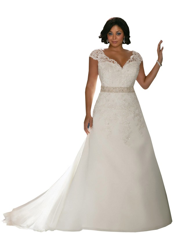 2016 Plus Size Wedding Dresses Best Quality V Neck Cap Sleeves Applique Beads New Bridal Dress Plus Size Wedding Dresses 6