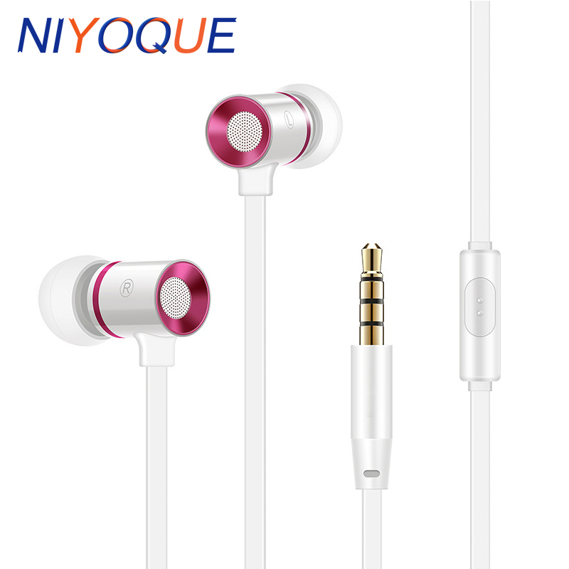 NIYOQUE In-Ear Earphone Headset In-line Control Stereo Sound With Mic Earphones For iPhone Xiaomi Mobile Phone MP3 MP4 PC yl in ear earphones w mic line control for samsung galaxy n7100 note 3 n9000 pink 112cm