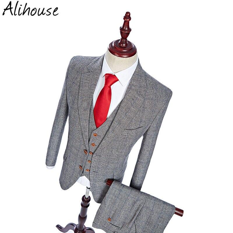 Latest Coat Pant Designs Wool Grey Blue Groom Tuxedo Tweed