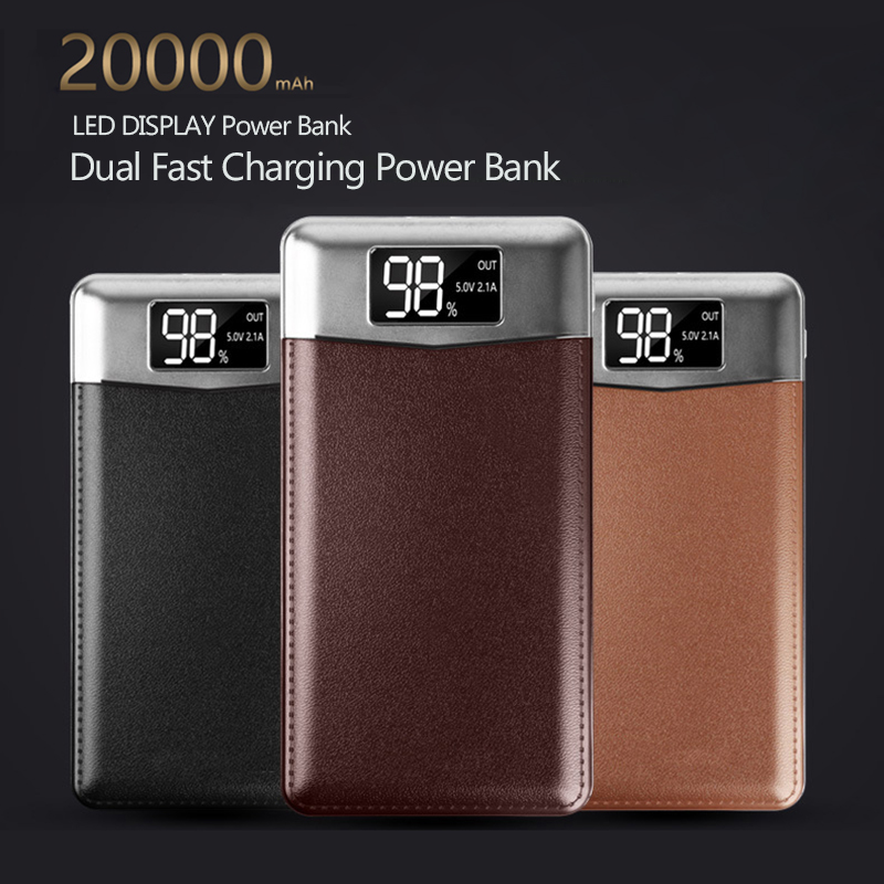 Dünne 20000 mah Power Bank Tragbare Ultra-dünnen Polymer Power batterie power-bank 20000 mah Mit Dual LED licht für Handy