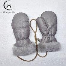 Winter Gloves Children Sheepskin Gloves Genuine Leather Gloves For Men Winter Outdoor Warm Fur Thick Gloves
