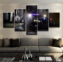 Unique Wall Art Pictures Living Room Decor One Set Posters 5 Pieces The Police Car Top-Rated Canvas Print Paintings Framework top posters холст золотой мустанг top posters 50х75х2см b 714h