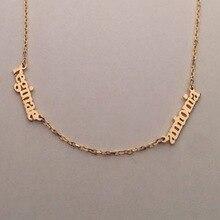 4445ba17a63e Venta al por mayor de plata de ley collar lateral 2 Placa personalizada  nombre diseño personalizado joyería collar de nombre