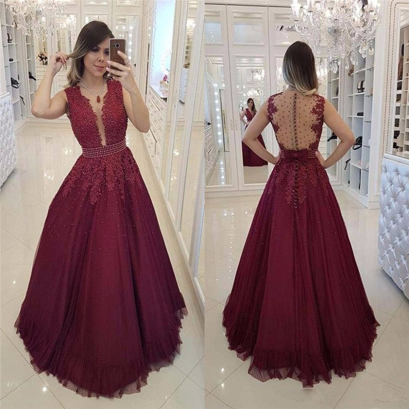 Burgundy A Line   Prom     Dresses   Illusion Back Lace Beaded Appliques Button Back   Prom   Formal Occasion   Dresses   Floor Length