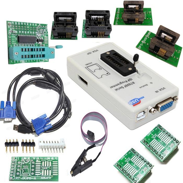 Free shipping RT809F programmer+ 4 test socket +1.8V adapter +TSSOP8/16 to dip 16 sop8 clip VGA LCD original programmer new original 50pcs 5571 fa5571 fa5571n sop8