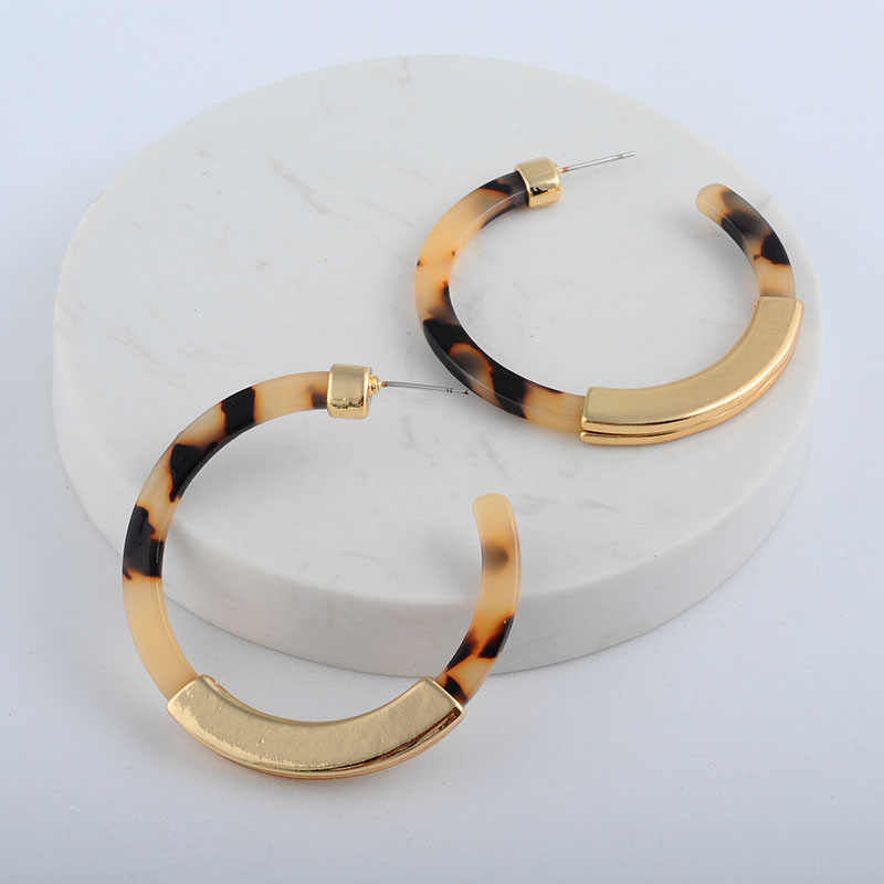 Hot Sale Acrylic Acetate Za Statement Jewelry Vintage Leopard Print Round Geometric Stud Earring For Women Female 2019 Gift
