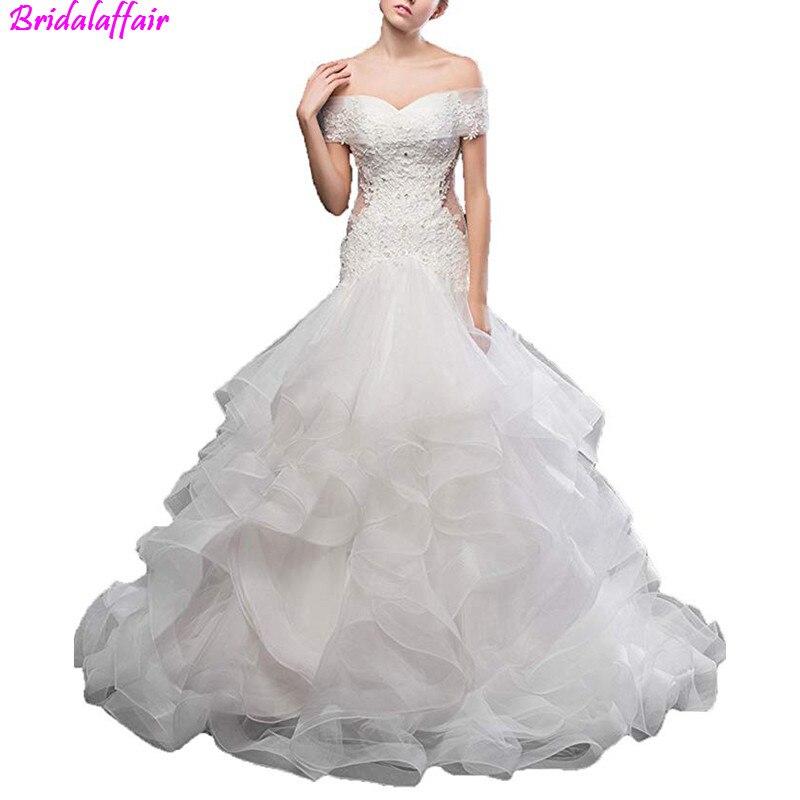 Lace Mermaid Wedding Dresses 2019 Off the Shoulder Boat Neck Appliqued Luxury Crystal Boho Bride Dress Princess Wedding Gown