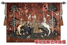 Medieval 100% algodón tapicería de la pared decoración colgante textiles para el hogar serie unicornio – sentido de sabor jacquard foto tela de encargo