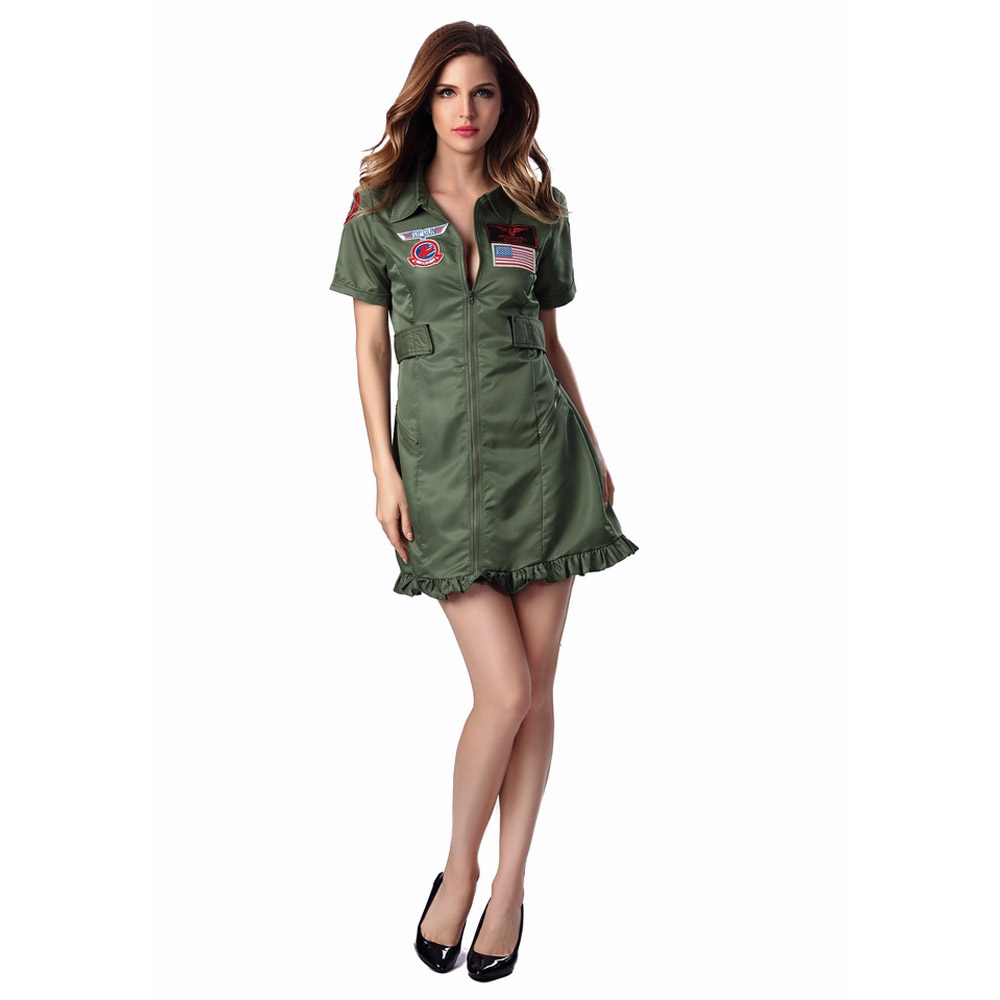 Free Shipping Sexy Top Gun Flight Suit Costume Womens Army -9759