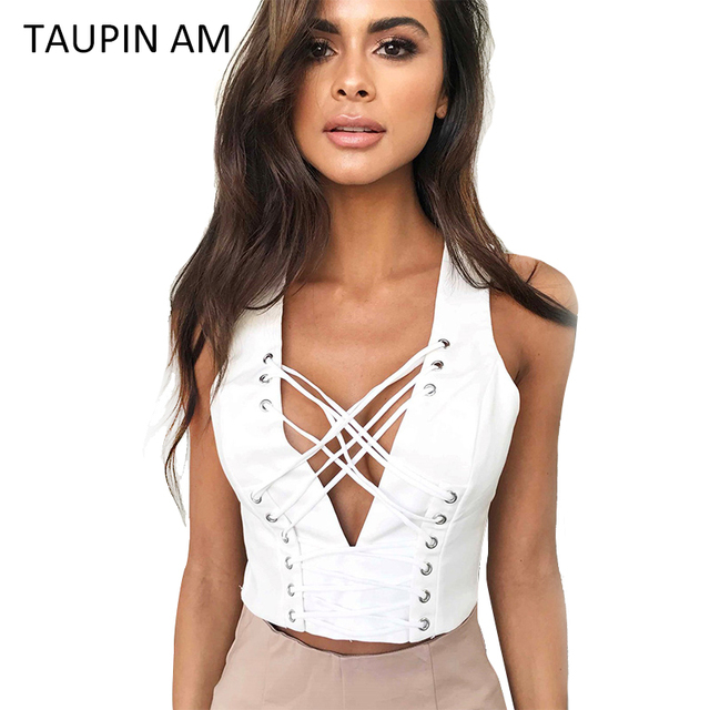 c82612c4e9 TAUPIN AM Sexy Lace Up V-Neck Bustier Crop Tops Women 2017 Summer Workout  Tank