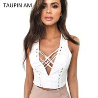 TAUPIN AM Sexy Lace Up V Neck Bustier Crop Tops Women 2017 Summer Workout Tank Top