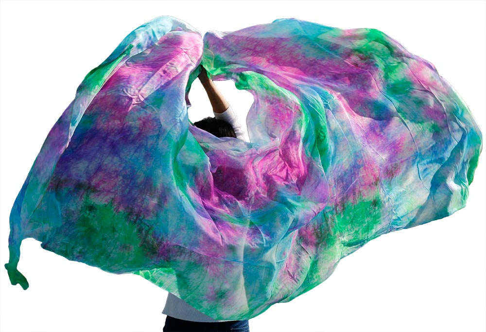 Customized 100% Real Silk Bellydance Veil Popular Hand Dyed Natural Silk Belly Dance Accessories Gradient Color Silk Veil 5Sizes