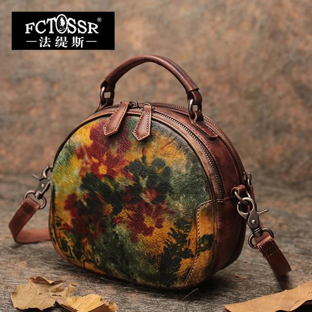 2018 Latest Round Handbag Women Shoulder Sling Bags Handmade Retro Messenger Crossbody Bags Office Lady Hand Bags Small Purse