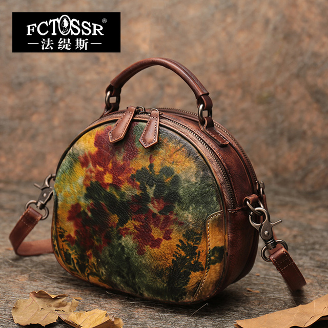 2019 Latest Round Handbag Women Shoulder Sling Bags Handmade Retro Messenger Crossbody Bags Office Lady Hand Bags Small Purse