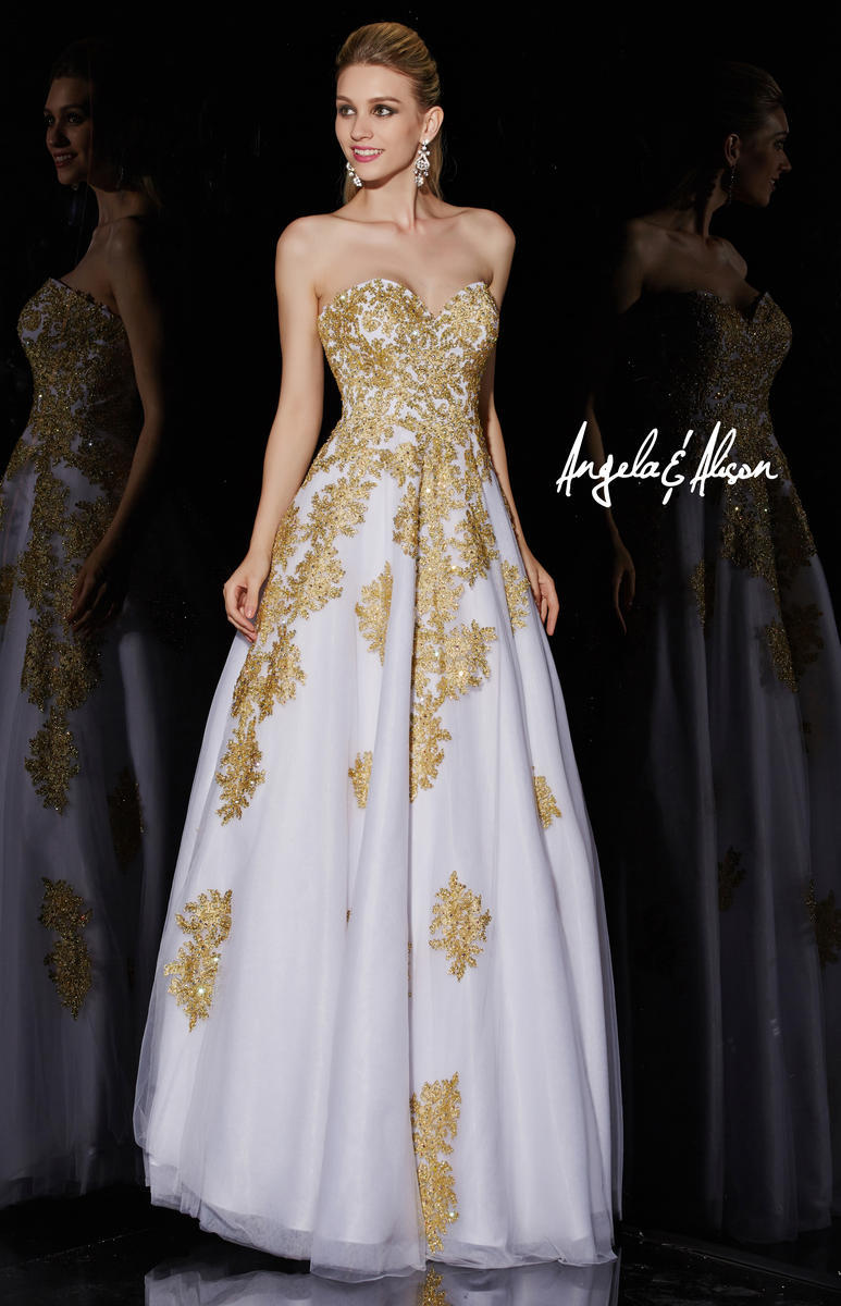 2017 White and Gold Lace Black masquerade Beaded Ball Gowns robe ...