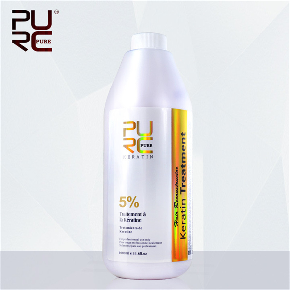PURC 1000ml 5% Formalin Brazilian Keratin Hair Straightener Repair Damaged Hair Moisturizing Anti split Deep Cleaning Hair Care