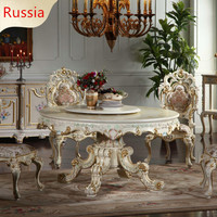 Baroque Palace Table French Luxury Classic Dinette Combination Baroque European Round Table For Russia